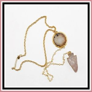 Jewelry - Agate and Rose Quartz Gold Choker Necklace